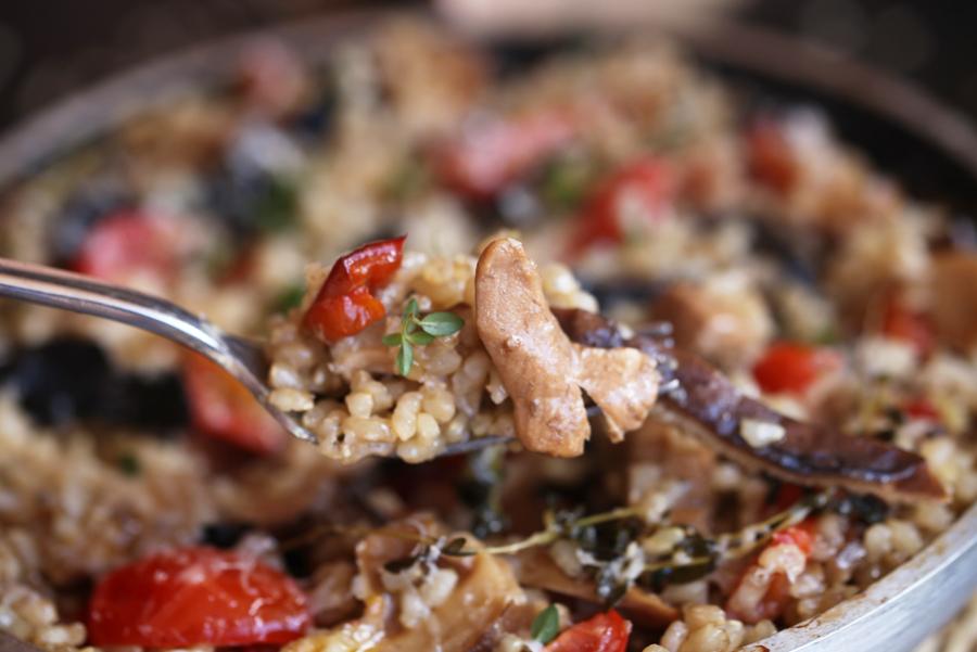 arroz integral con setas