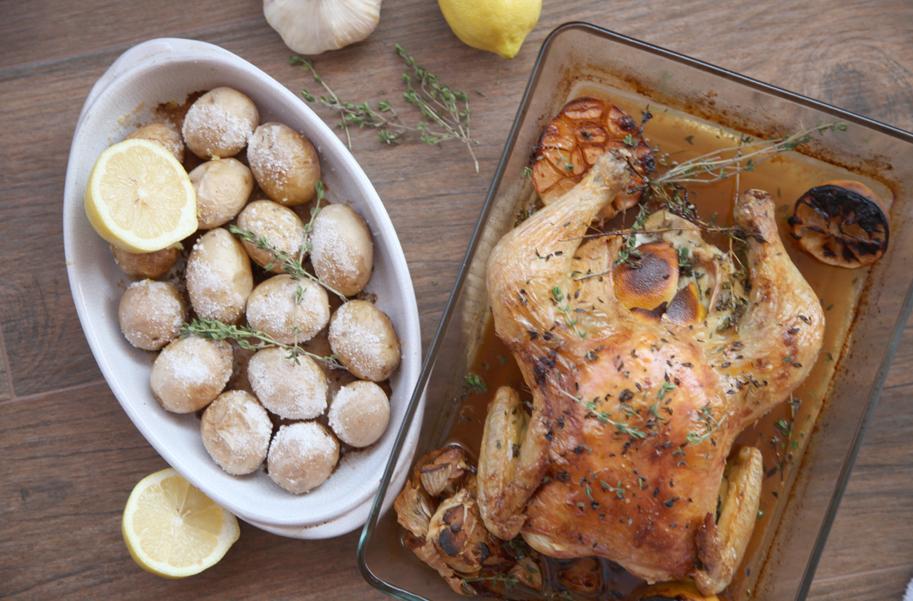 Pollo al limón y tomillo