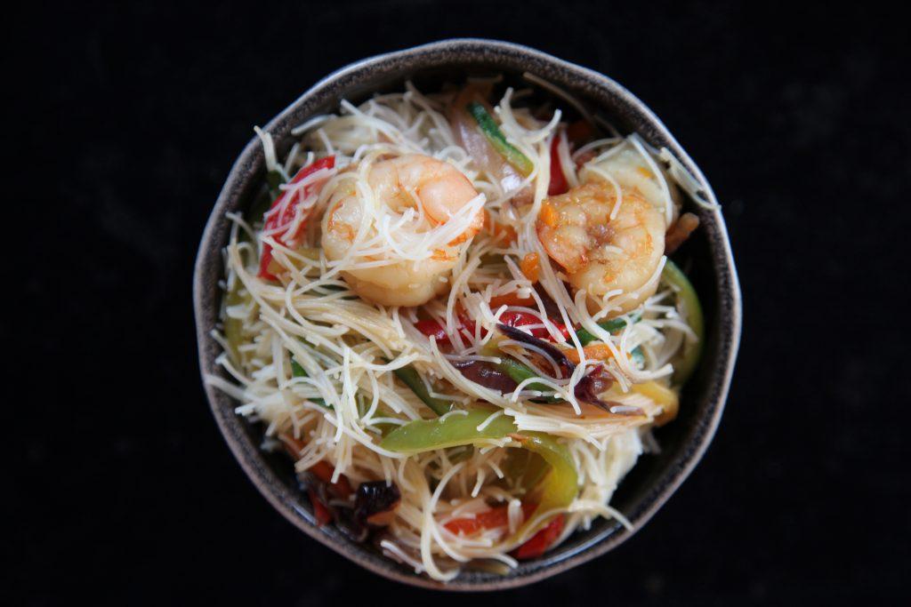 Fideos de arroz al estilo Singapur