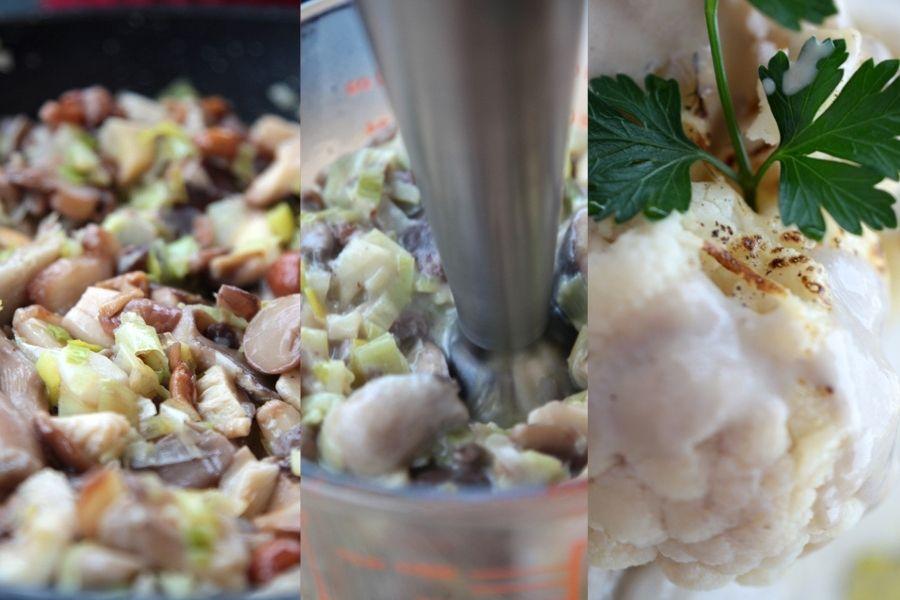 Coliflor con salsa de setas