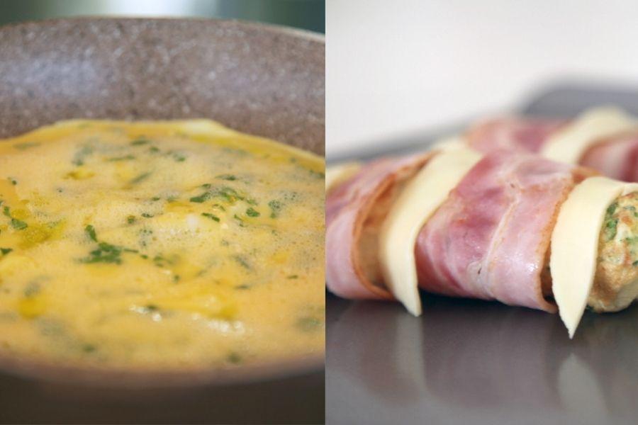Rollito de tortilla, beicon y queso fresco