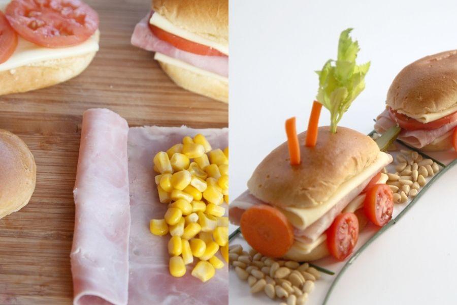 Bollitos de jamón, queso y maíz
