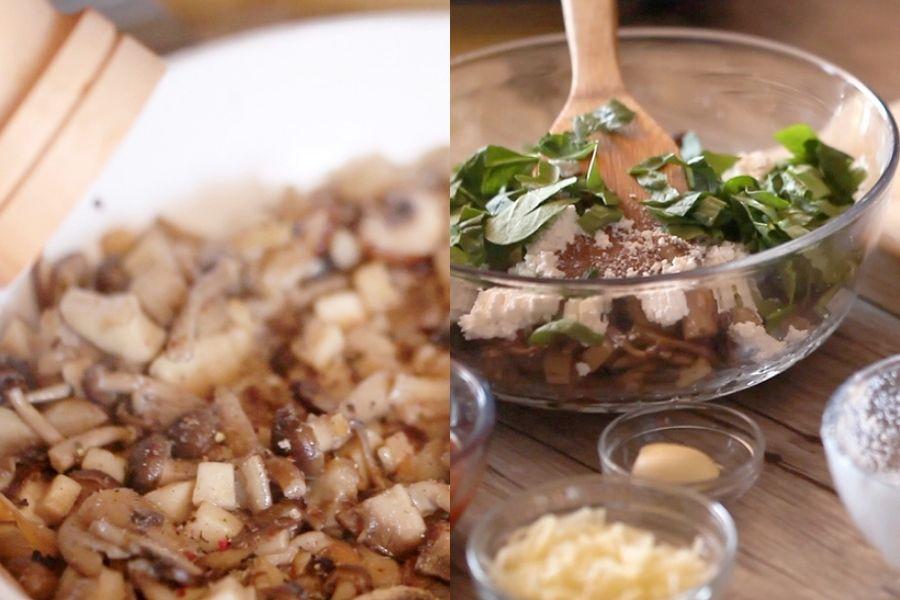 Raviolis de calabacín con setas
