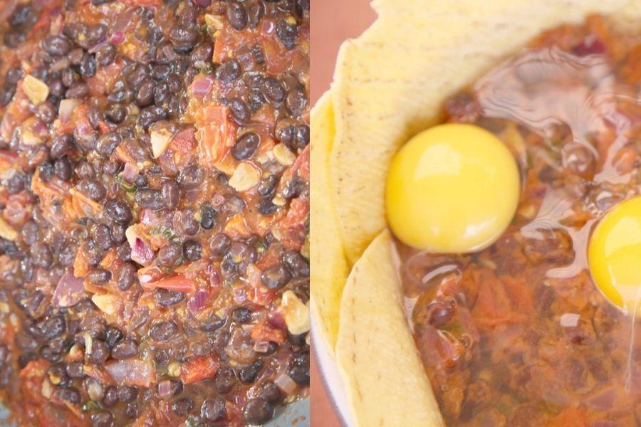 Huevos mexicanos con frijoles negros