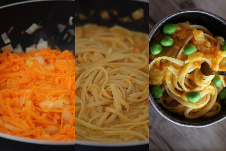 tallarines con salsa de calabaza