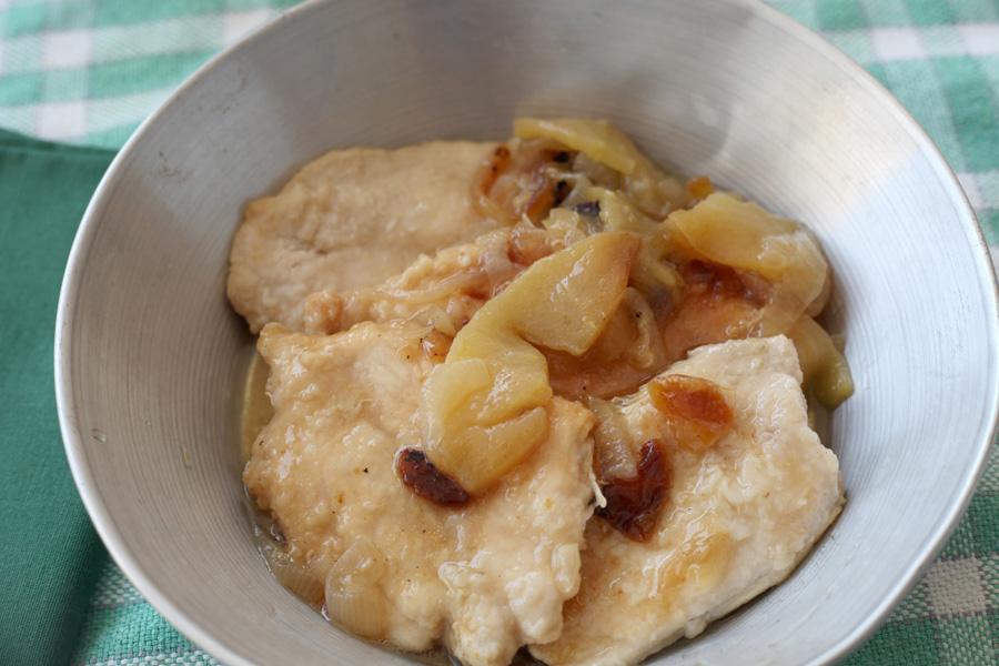 Filetes de pavo con manzana